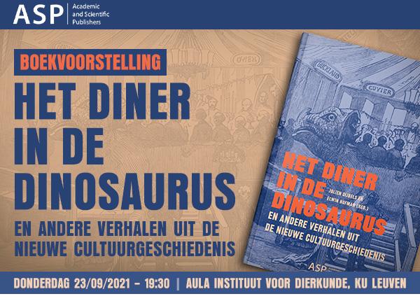 Uitnodiging boekvoorstelling: Het diner in de dinosaurus (donderdag 23/09/2021 – 19:30 / Aula Instituut voor Dierkunde, KU Leuven)